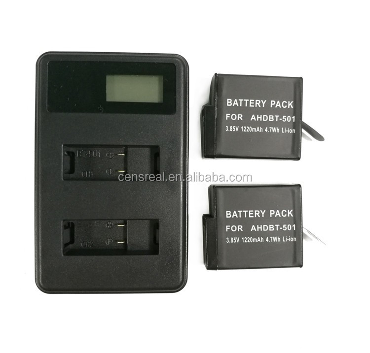 Portable 4.35V 600mA travel dual charger for AHDBT-501 Gopros 5 with LCD indicator