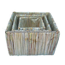 Country S/3 original square large floor water hyacinth handmade garden wicker planter with liner
