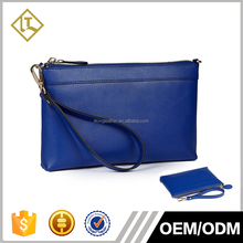 Factory OEM Blue Color Ladies Genuine Leather Clutch bag