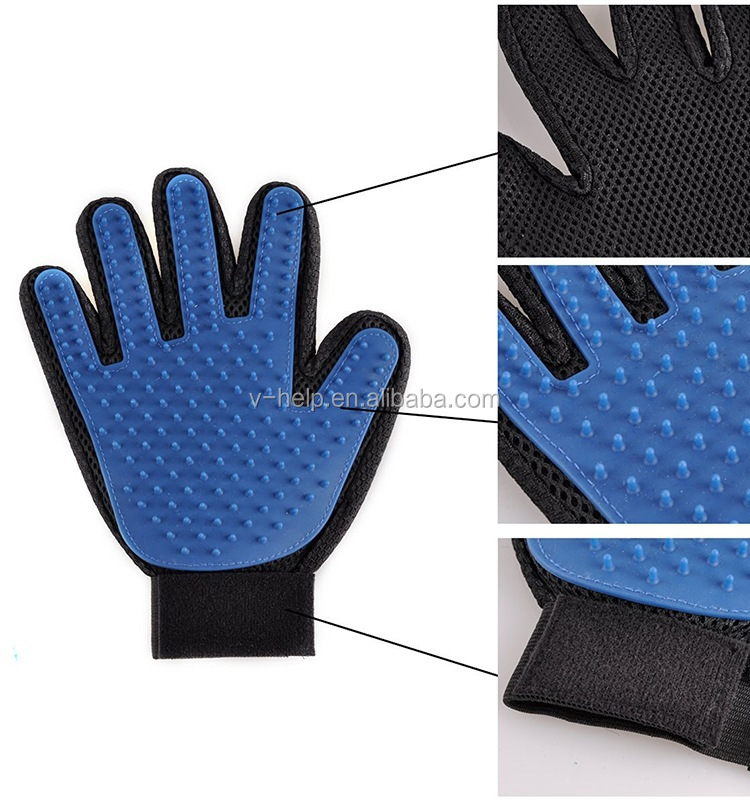 Hot Silicone Stocked Single Waterproof Pet Cleaning Grooming Pet Washing Gloves