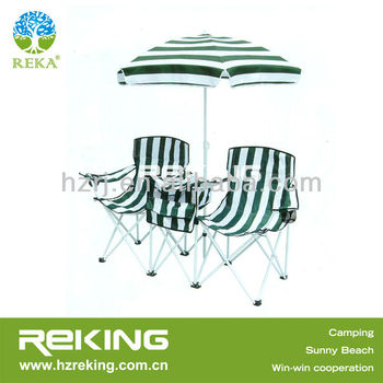 Double seat Beach Chair with Umbrella and cooler bag