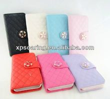 Diamond Woolen wallet leather case for iphone 5C
