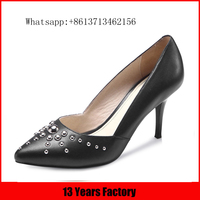 Black genuine leather upper silver rivets pointed toe luxury beatiful 6cm thin 2016 newest high heel shoes
