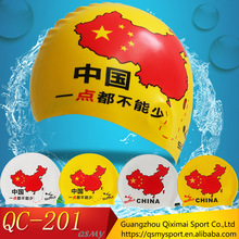 Free Sample China map printing Customized Logo 100% Silicone Swim Cap with Adult and Kid Size