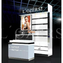 Shopping mall wall wood showcase design make-up cosmetic display stand