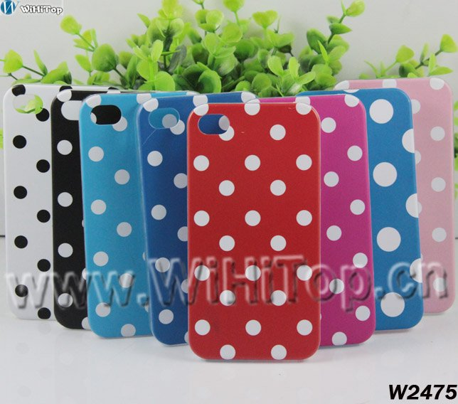 Hot Sale For iPhone 4 4S Polka Dots Hard Plastic Cover Case New Design +High Quality