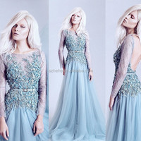JM. Bridals ONE364 Fairy Light Blue Backless Lace and Soft Tulle Hand made Flowers Long Sleeve Lace Evening Gown