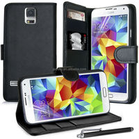 Real Leather wallet stand case with three card slot for Samsung Galaxy S5