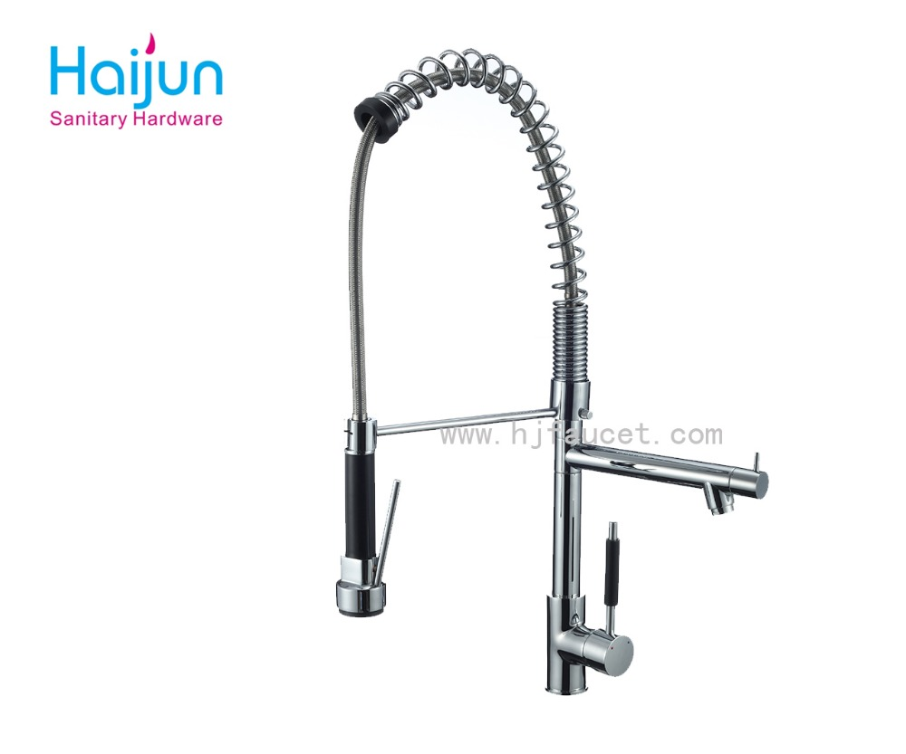 three way spring functional chrome polished kitchen water faucet tap