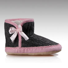 HC-932 cable knit upper decorative bow sherpa fleece lining soft sole indoor knit slipper boots for girls