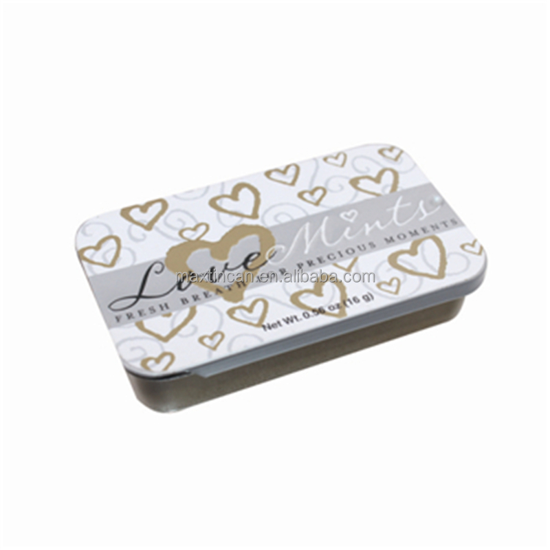 Rectangular mini tin box for sliding lid