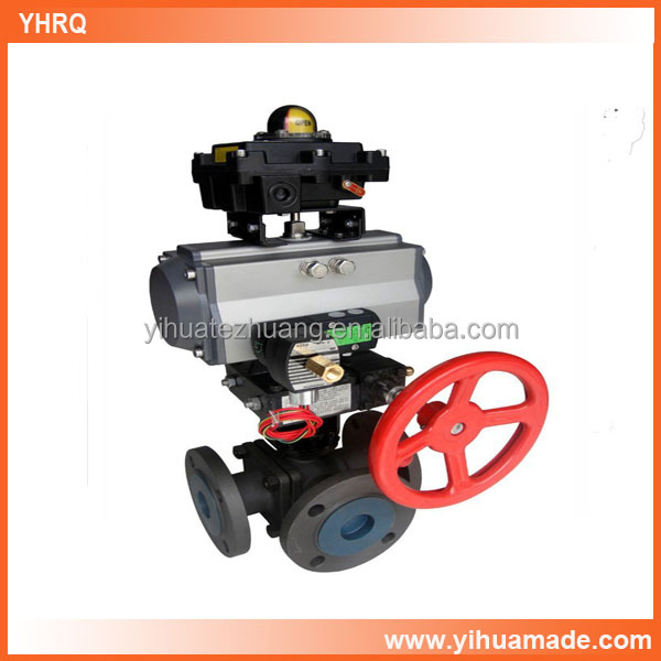 high quality factory supply pneumatic 3 way ball valve