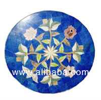 Lapis Lazuliu art work table top fine quality lapis used and marble and jade flowers