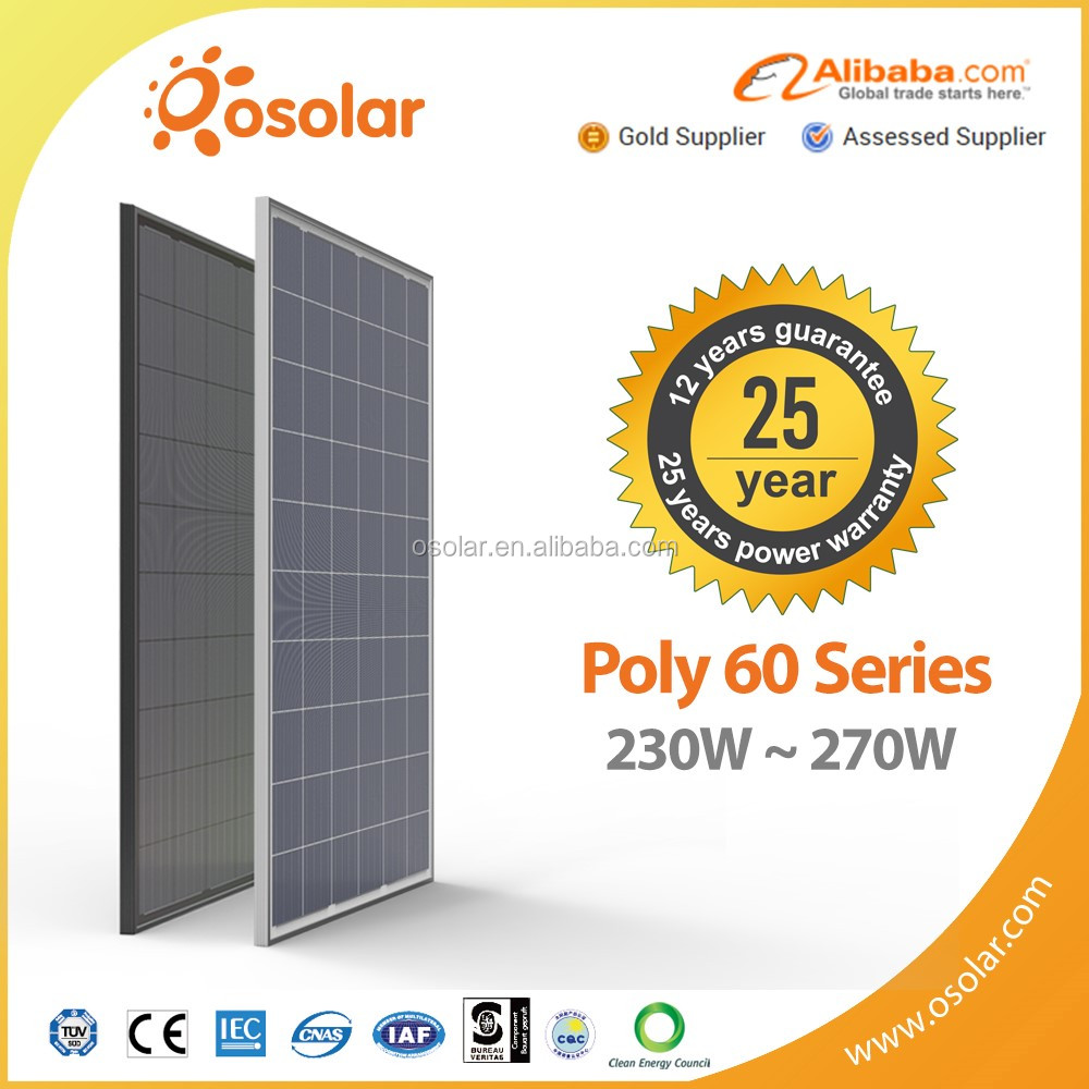 Osolar high quality 250w 260w 270w pv solar for solar electricity generating system for home | pv