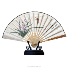 Hand craft with custom picture fan bamboo carving cover special fabric