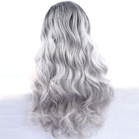 Ombre mixed grey synthetic hair natural wave lace front wig