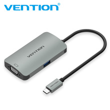 Vention Aluminum Alloy USB 3.1 Type C To VGA Converter USB 3.0 Hub Adapter for Laptop