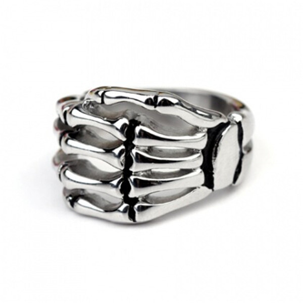 Yiwu Aceon stainless steel men's skeleton hand paw ring