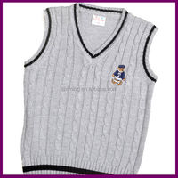 boys v-neck cotton grey cable knit student uniform vest with bear embroidery
