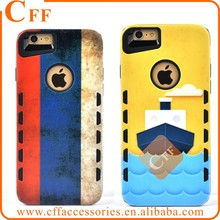 Cartoon National flag Boat 3D Relief Colorful Pattern 2 in 1 TPU+PC Phone Case For iPhone 6 Cover