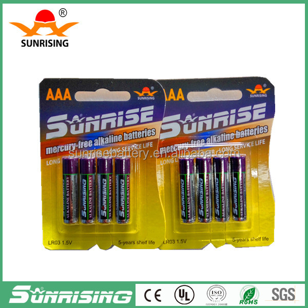 AAA size and Zn/MnO2 Battery type 1.5v aaa rechargeable battery am4 lr03