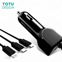 3 in 1 Car Phone Charger 8 Pin Type C Micro USB Spring Cable Fast Charging Mobile Phone Car-Charger