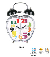Colorful Apple Shape Twin Bell Table Clock with Alarm