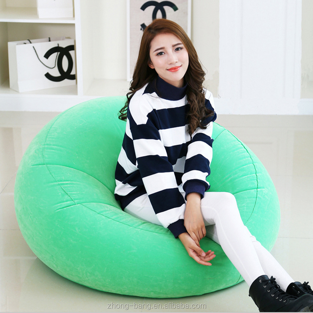 round design leisure flocked inflatable sofa
