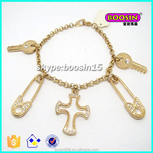 Chinese manufacturer custom lovely charms rose gold chain bracelet #3499