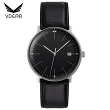 40mm size leather men watch movement miyota quartz stainless steel case back watch