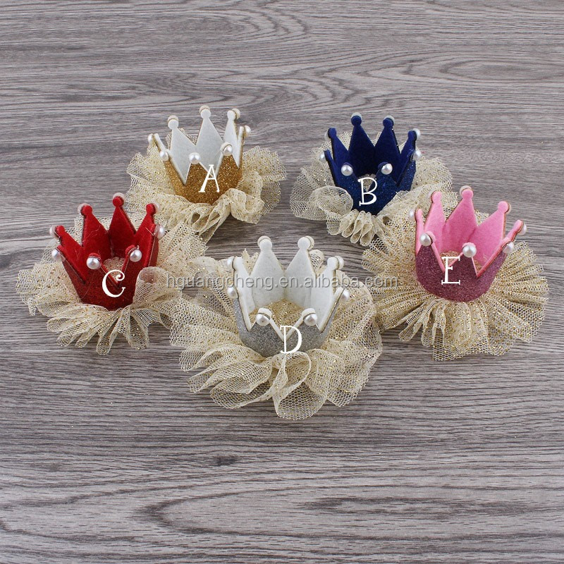 fashion hot kids baby accessories mini glitter plastic crowns for kids