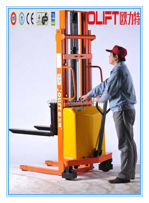 most popular semi-electric manual pallet stacker lift truck with SGS certificate