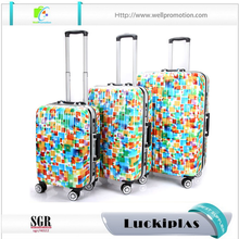 Printed 4 wheels trolley travel abs+pc hard shell luggage suitcases
