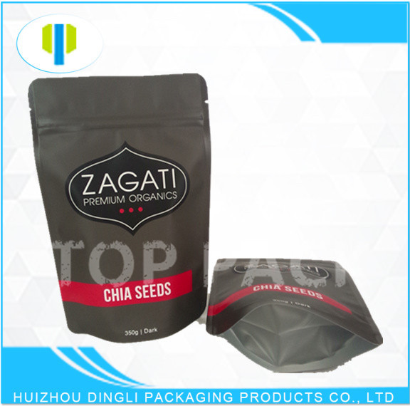 Custom printed laminated foil stand up zipper plastic corn seed bag