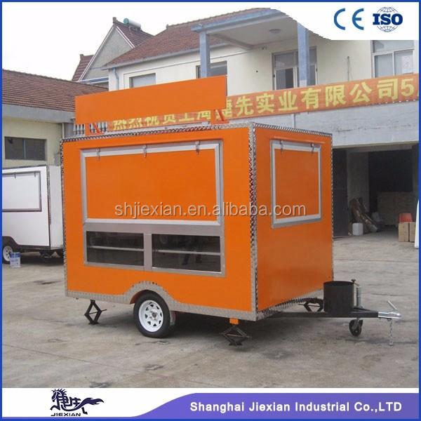 JX-FS280 CE ISO9001 qualification light pink food cart trailer for sale mobile food wending