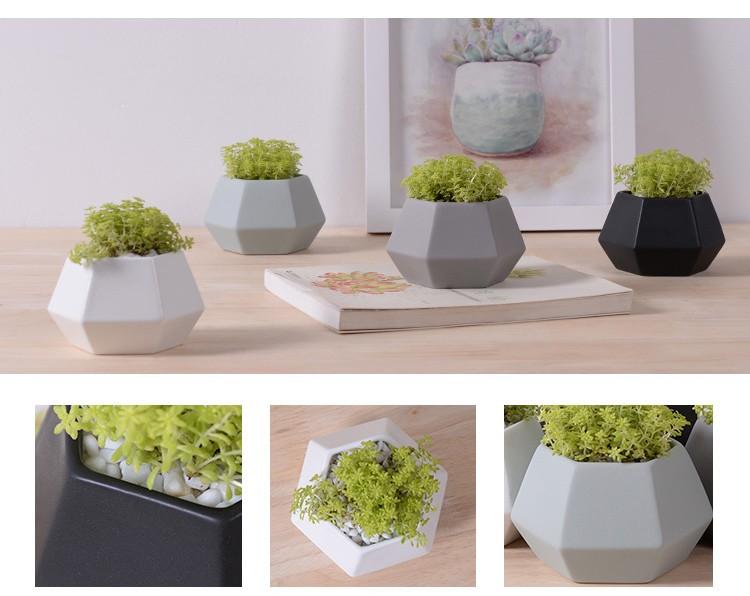 New deign small hexagon matte porcelain indoor decorative pots ...