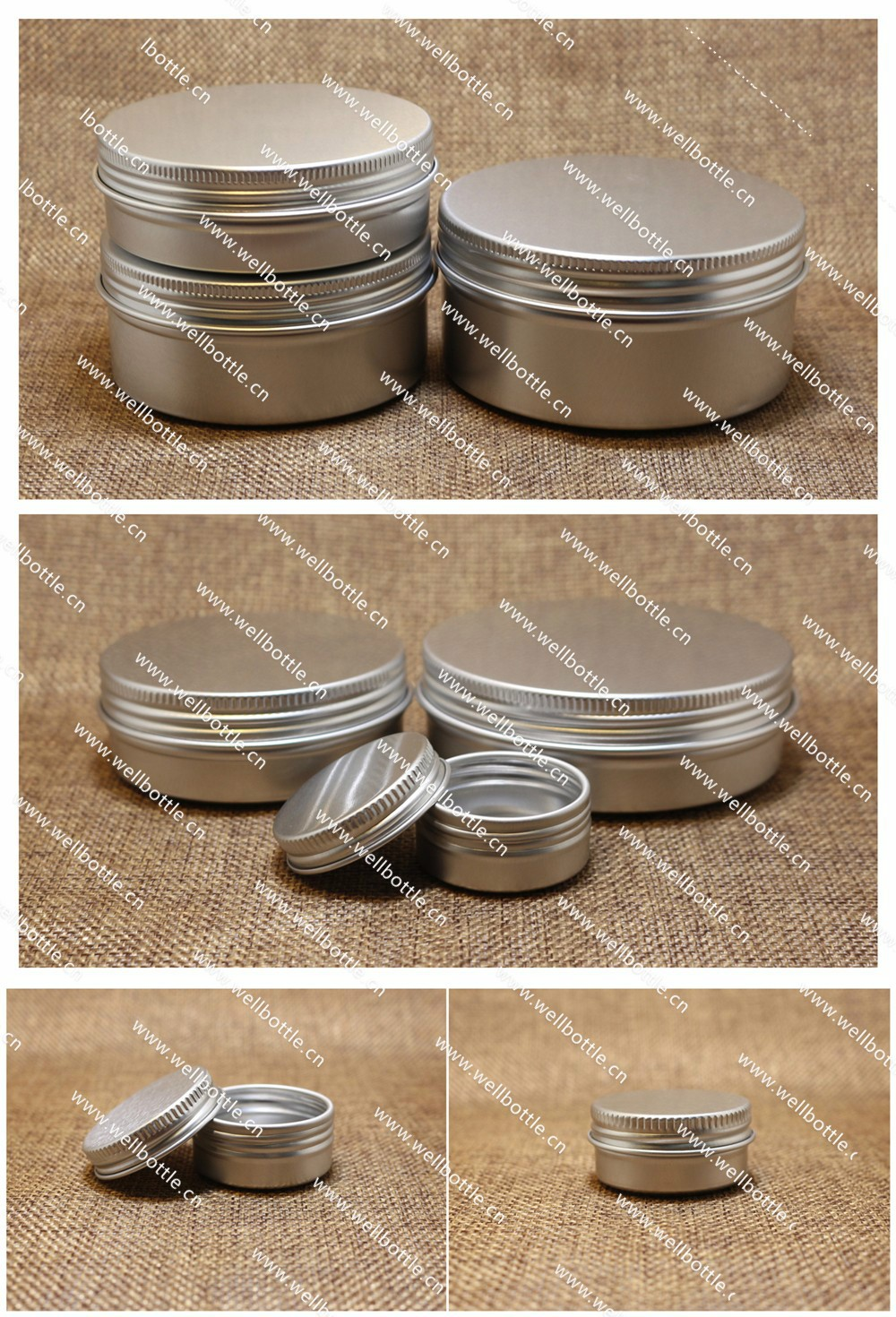 5g 10g 15g 20g 30g 50g 60g 80g 100g 120g 150g 200g 300g 500g aluminum jar for food Hair wax Lipstick Solid Perf AJ8888R