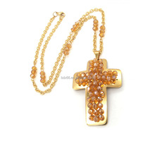 18K Gold Plated Stainless Steel Christ Jesus Cross Crucifix Medals Pendant Crystal Beads Rosary Necklace For Family Prayer