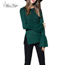 Maxnegio new fashion Lotus leaf sleeves korean style woolen sweater designs for ladies