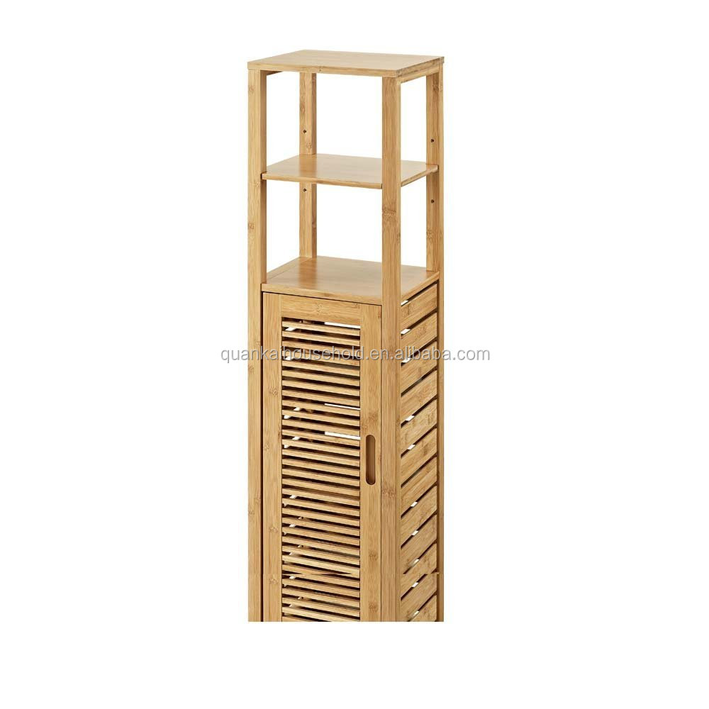 Natural Bamboo Tall Floor Cabinet Bathroom Storage Rack