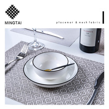 Hot design cheap wholesale dishwasher safe fabric woven kitchen plastic pvc vinyl dinner placemat custom restaurant table mats