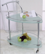 Modern hotel kitchen furniture restaurant tea wine food trolley chromed steel tempered glass service cart trolley