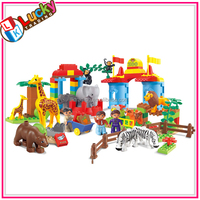 Funny cartoon zoo plastic block toys for kids with animal toys