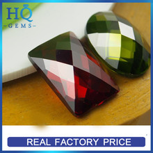 Checker Flat Back Garnet Rectangle CZ Decoration Stones