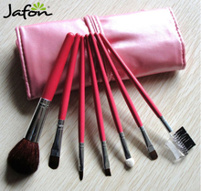 Hot sell high quality cheap cosmetic Makeup brush case/set pink 7pcs for girls wholesale