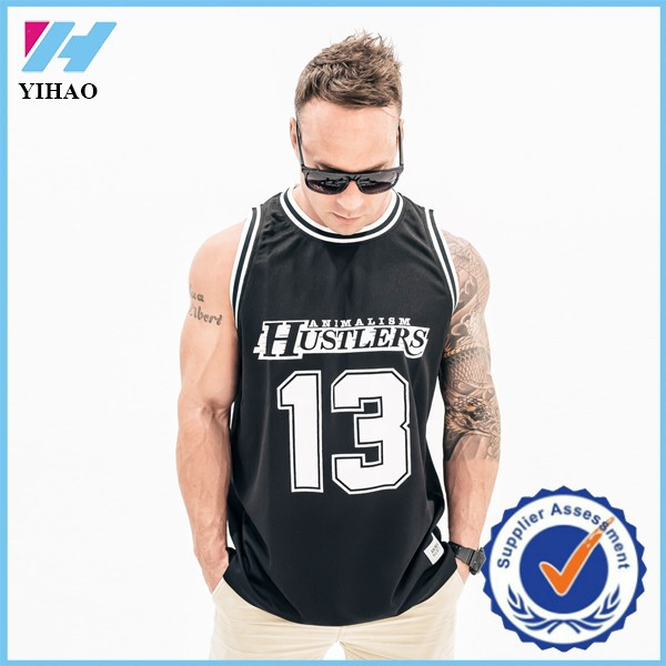 Trade Assurance Yihao 2015 Man Basketball Mesh Printed Gym Fitness Sports Wear Uniform Jersey Tank Top