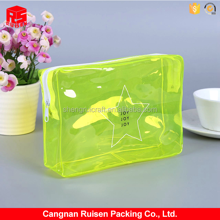 Hot sale new yellow top zipper clear cosmetic packing PVC make up bag