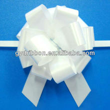 "5"" White Christmas Pull Ribbon Bow, Soild Pull Bow, Satin Ribbon Pull Bow with tinsels"