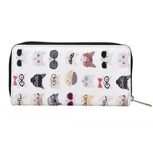 Long Large Capacity Cat Print Women Ladies Clutch Wallet With Cell Phone Pocket Card Holder