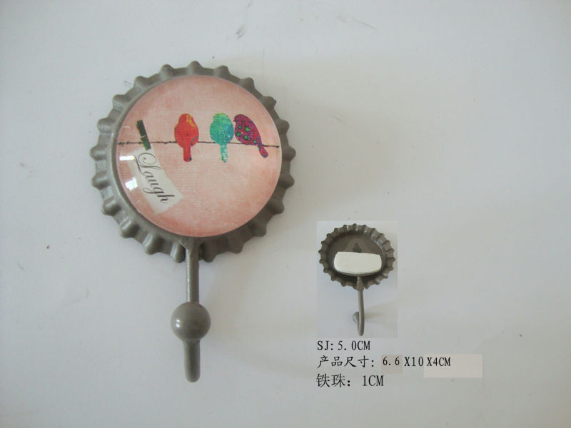 Sticker or hanging Bottle Cap design single hook